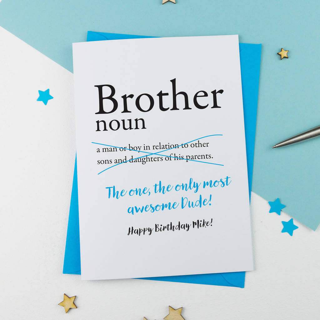 Brother Birthday Card Personalised By A Is For Alphabet