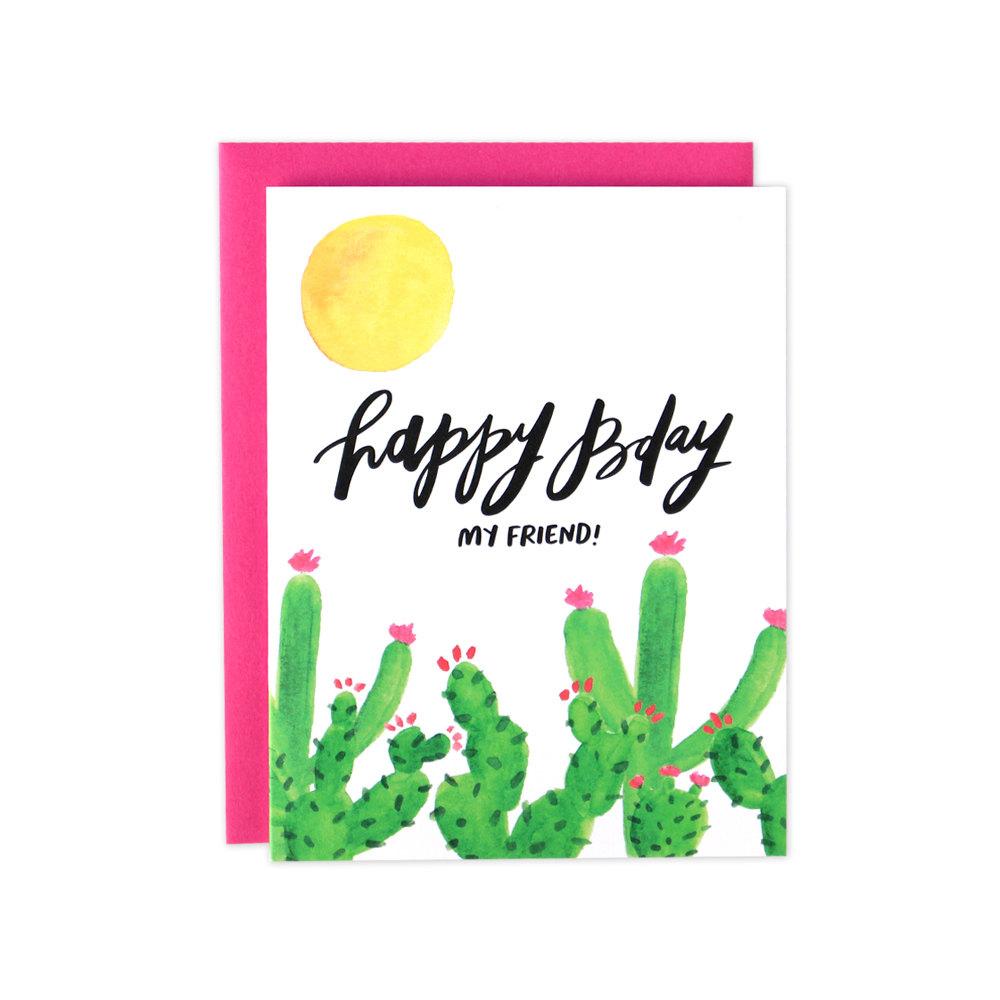 Cactus Birthday Card Cactus Bday Card Watercolor Bday Card