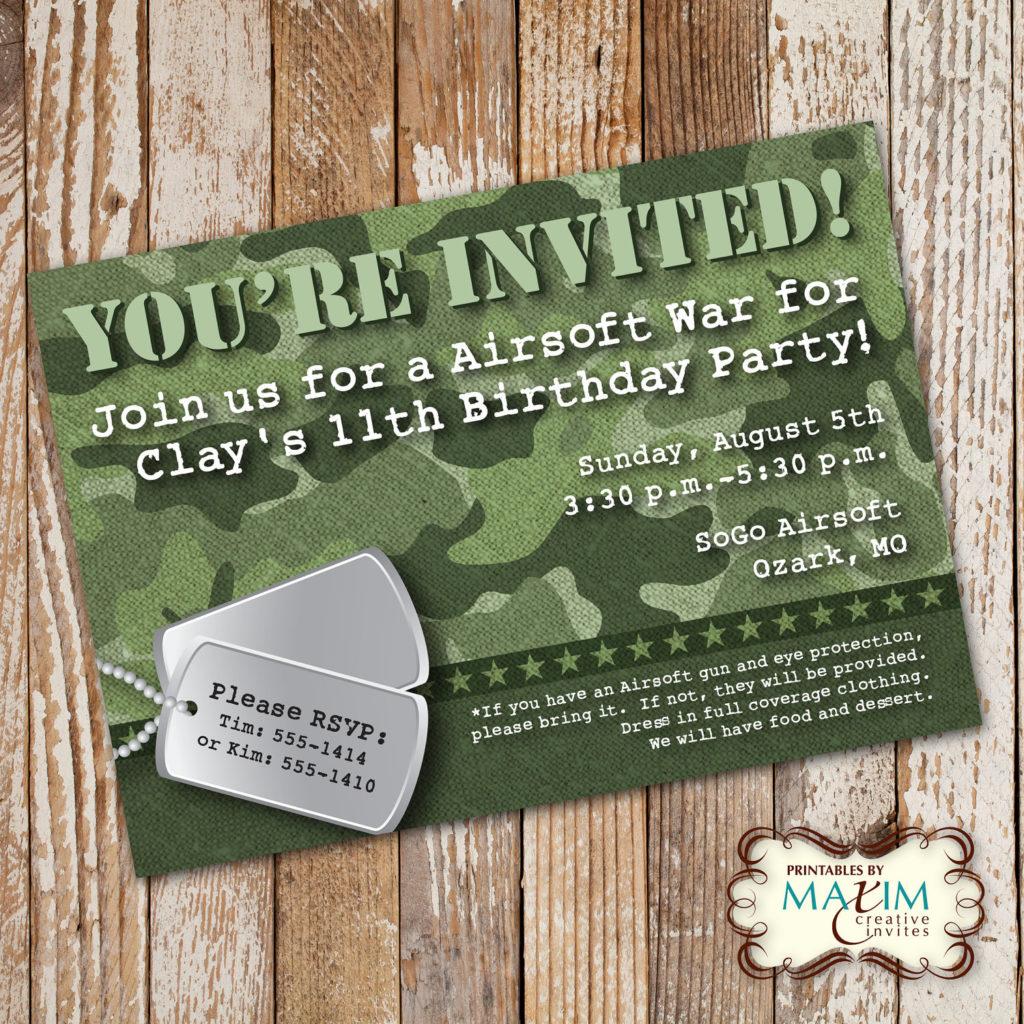 Camo Birthday Invitation DIY Printable Invitation Army