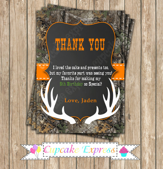 Camo Boy Hunting Birthday Party PRINTABLE Thank You Card 4