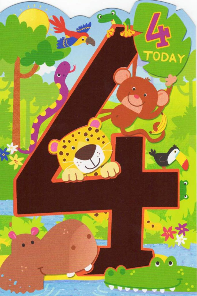 Childrens Happy 4th Birthday Greeting Card Cards Love