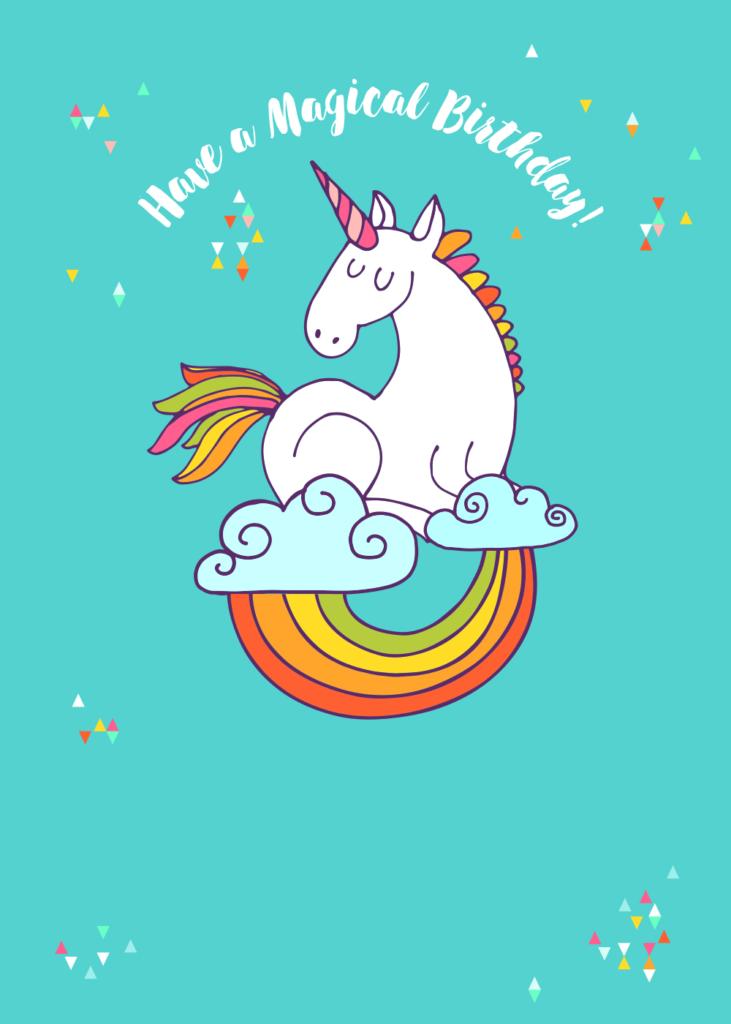 Colourful Unicorn Birthday Card Greetings Island