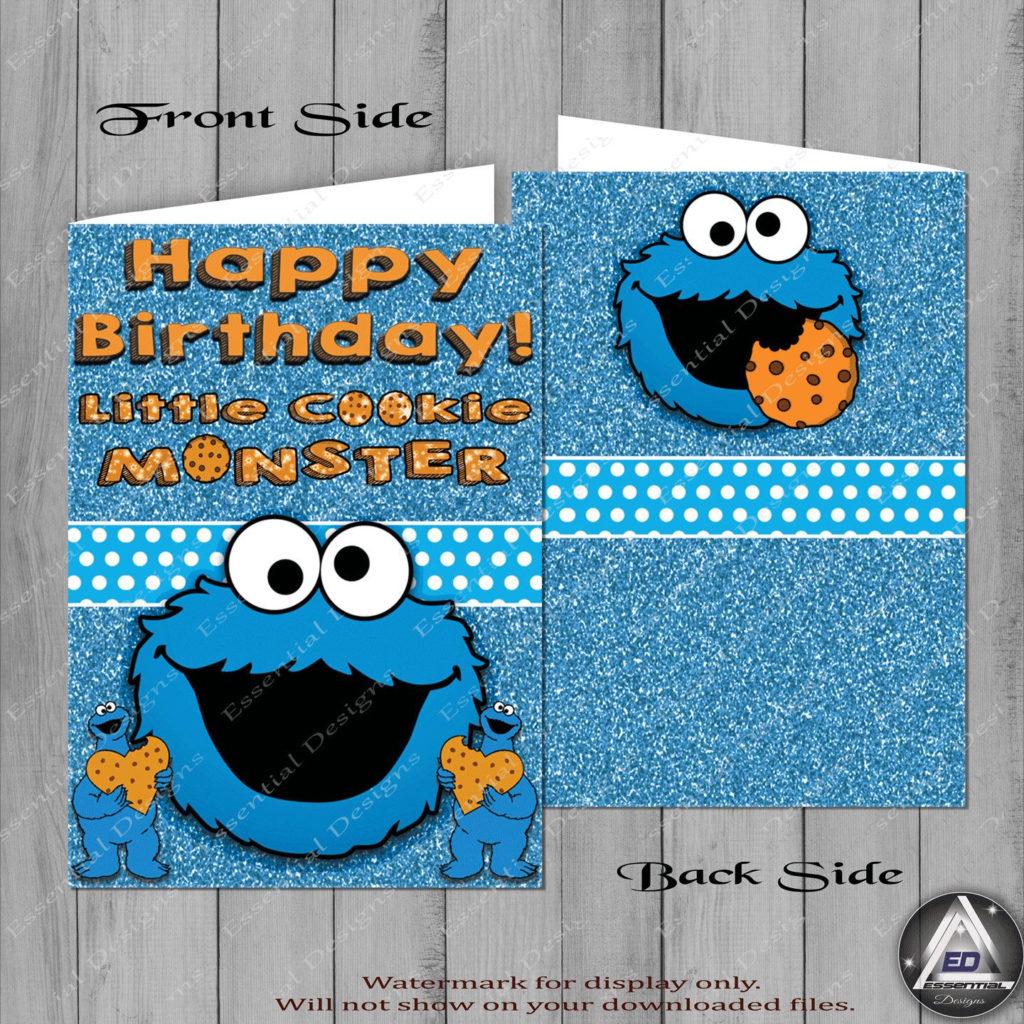 Cookie Monster Birthday Card Sesame Street Party Cookie