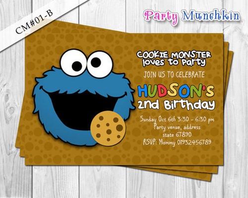 COOKIE MONSTER Sesame Street Photo Invitation Cookie