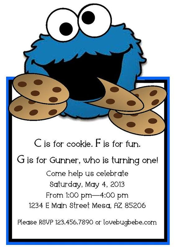 Cookie Monster Template Cookie Monster Invitations