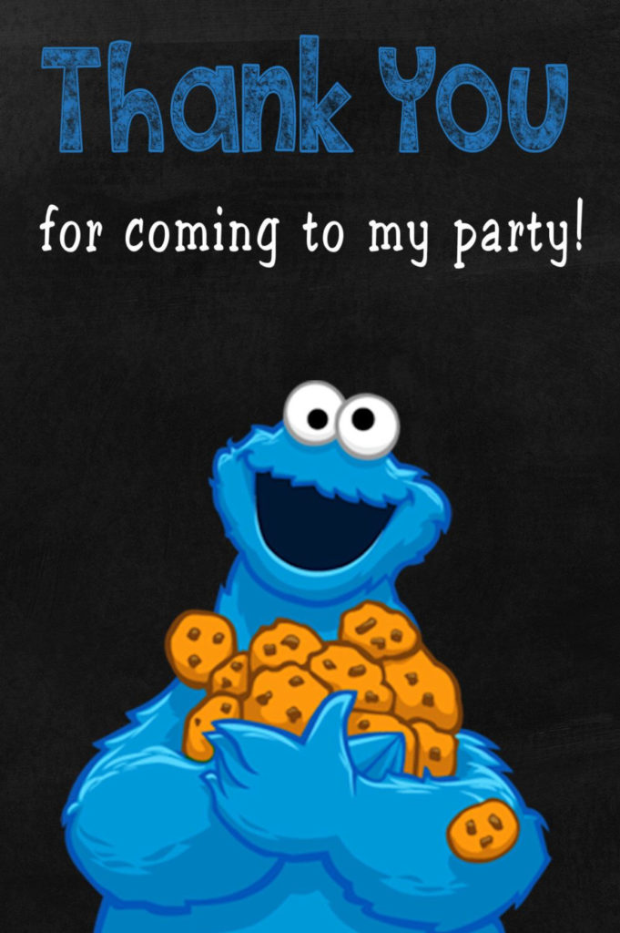 Cookie Monster Thank You Card Thank You Note Thank You