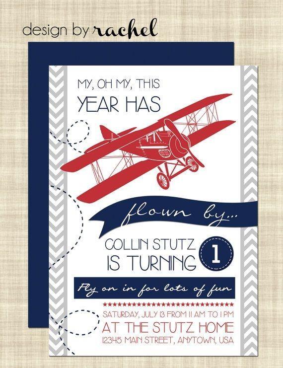 Cool Printable Red Airplane Birthday Invitation Card