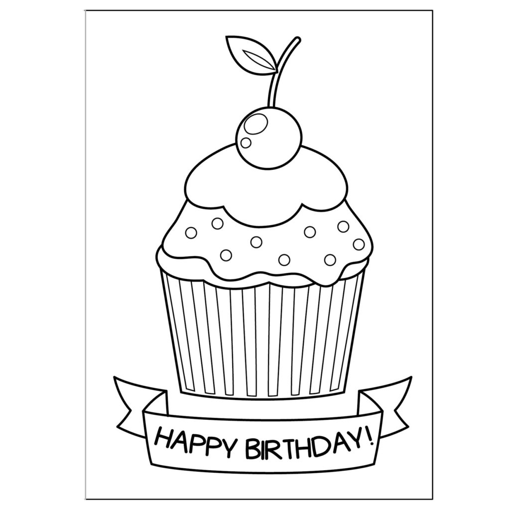 Cute Greeting Cards To Print And Color Coloring Birthday