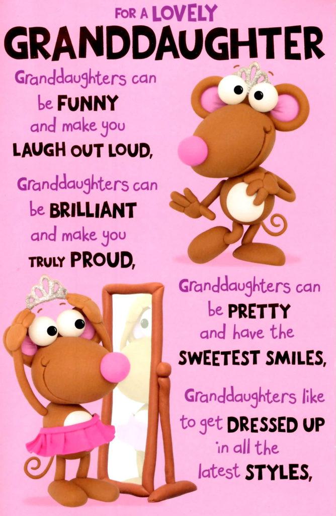 Cute Wonderful Granddaughter Birthday Greeting Card Cards