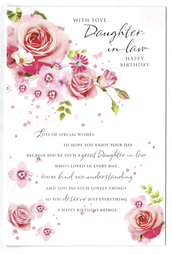 Daughter In Law Birthday Card With Rose And Sentiment