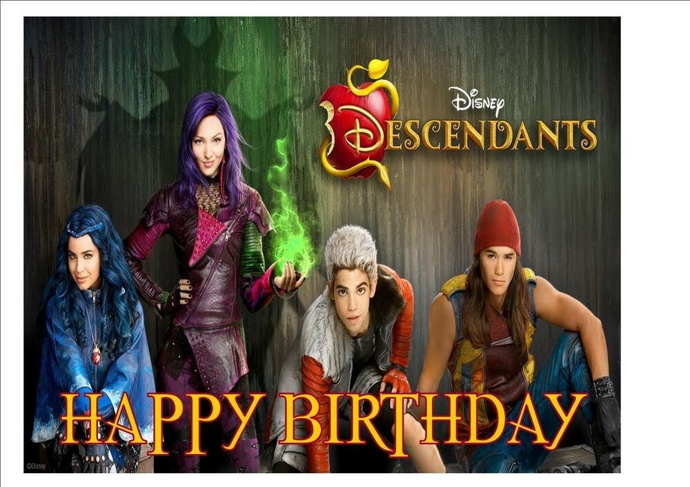 Disney Descendants Rice Paper Birthday Cake Topper EBay