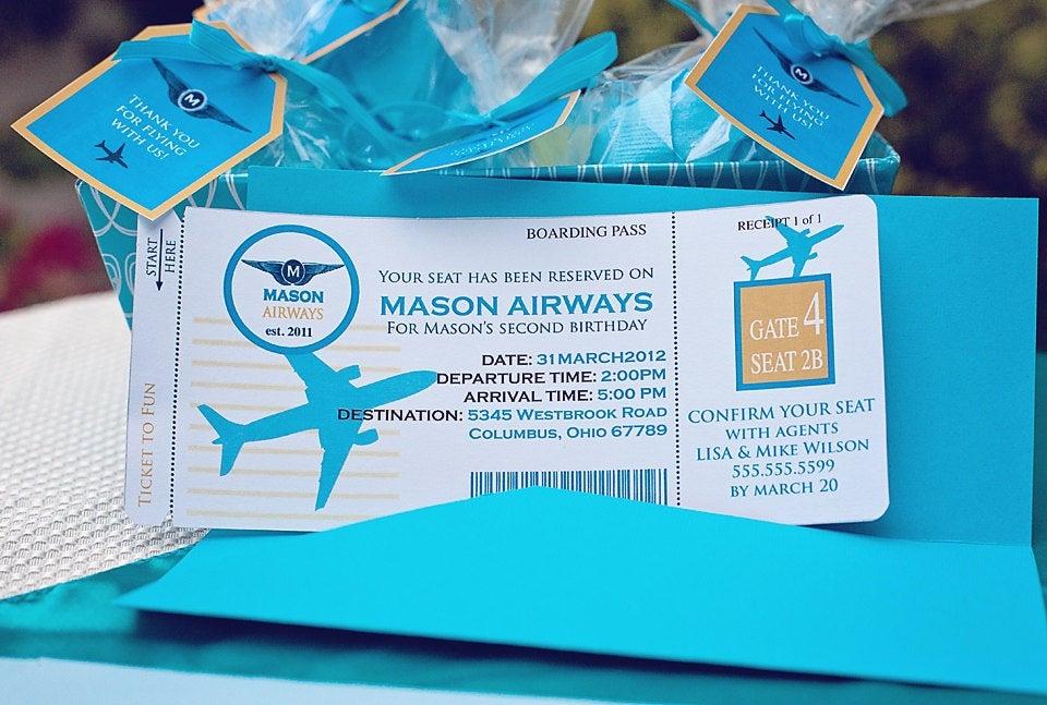 DIY Printable AIRPLANE Birthday Invitation By