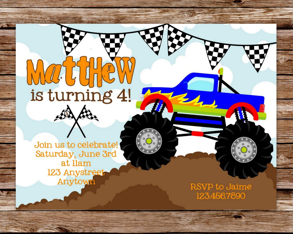 DIY Printable Monster Truck Birthday Party By