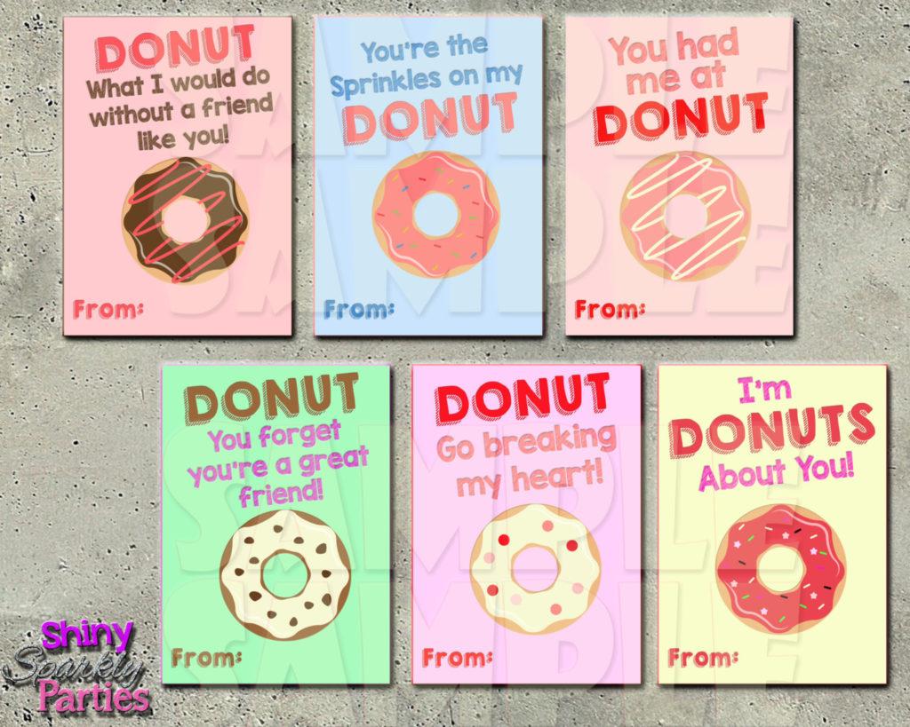 DONUT VALENTINE CARDS Printable Valentine Cards Donut