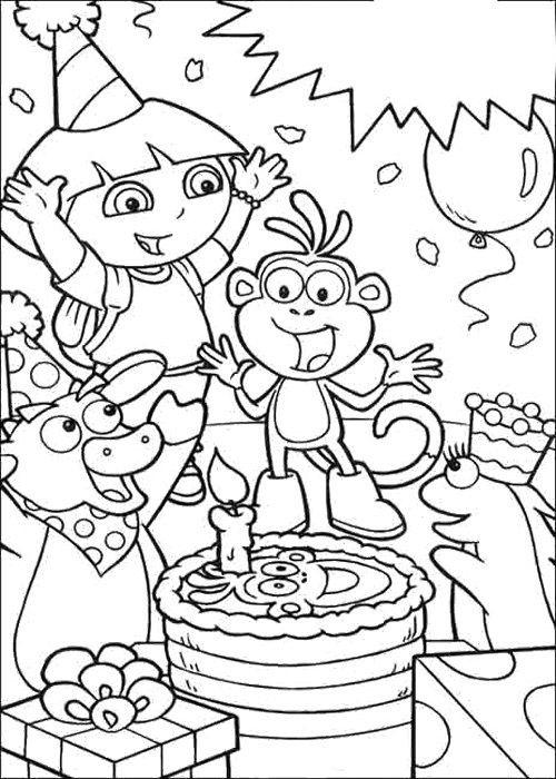 Dora Happy Birthday Card Coloring Page Birthday Coloring