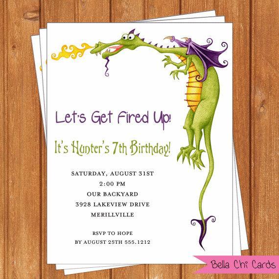 Dragon Invitation Kids Birthday Printable By BellaChiCards