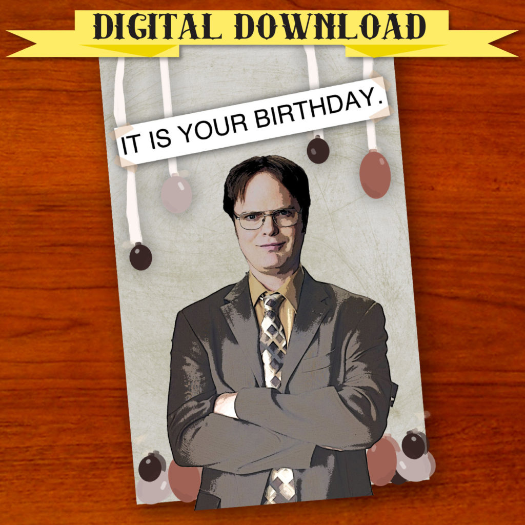 Dwight Schrute The Office Birthday Card Digital Download