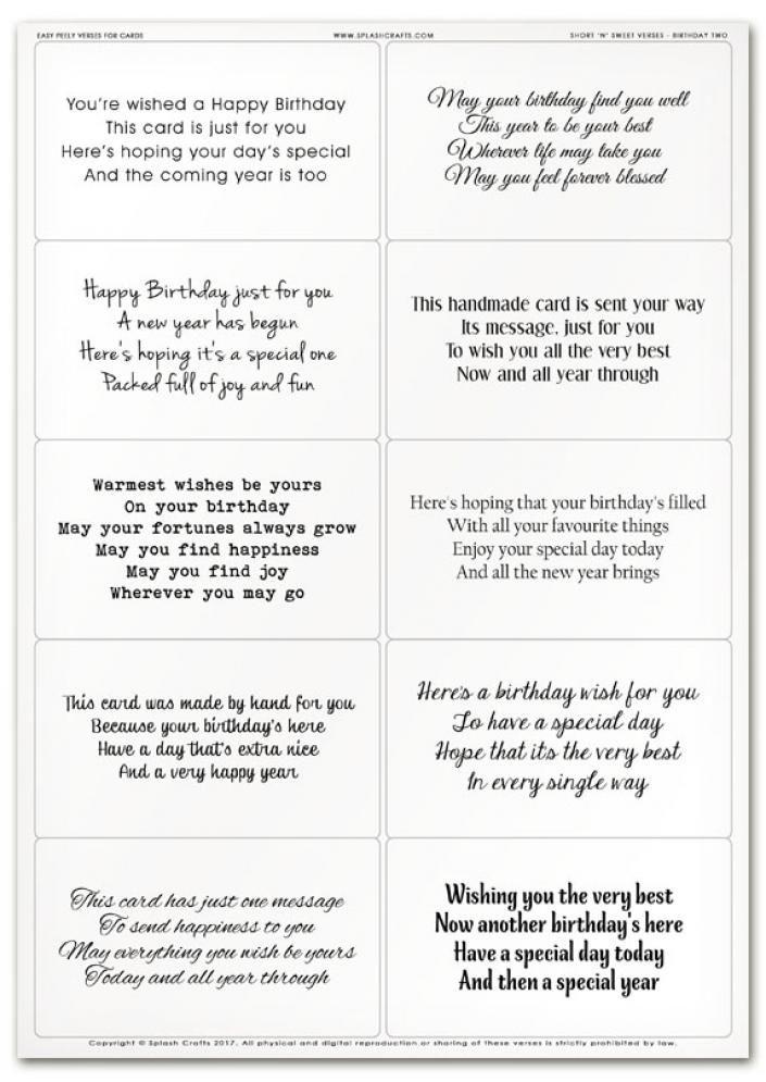 Easy Peely Verses For Cards Short n Sweet Birthday