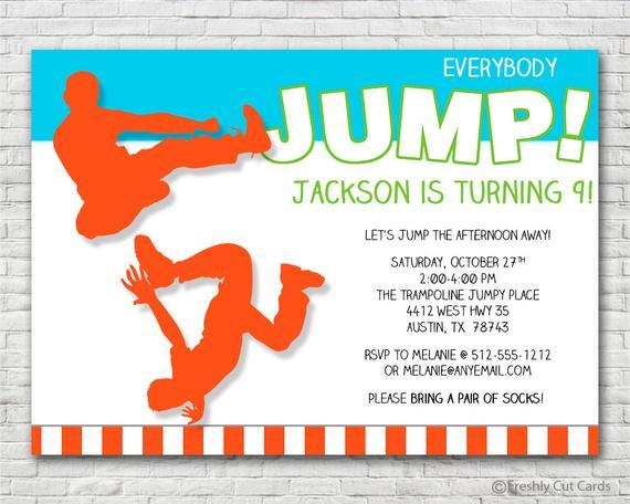 Everybody Jump Birthday Invitation Printable Or Printed W