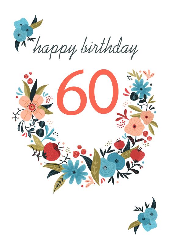 Floral 60 Free Birthday Card Greetings Island