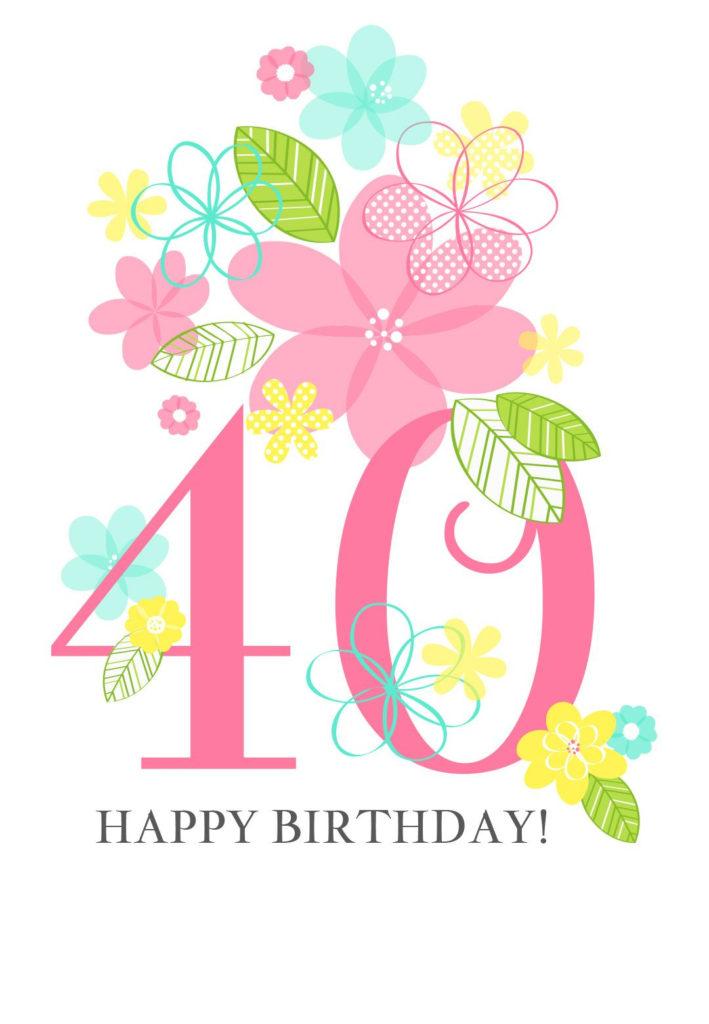 Floral Ladies 40th Free Printable Birthday Card