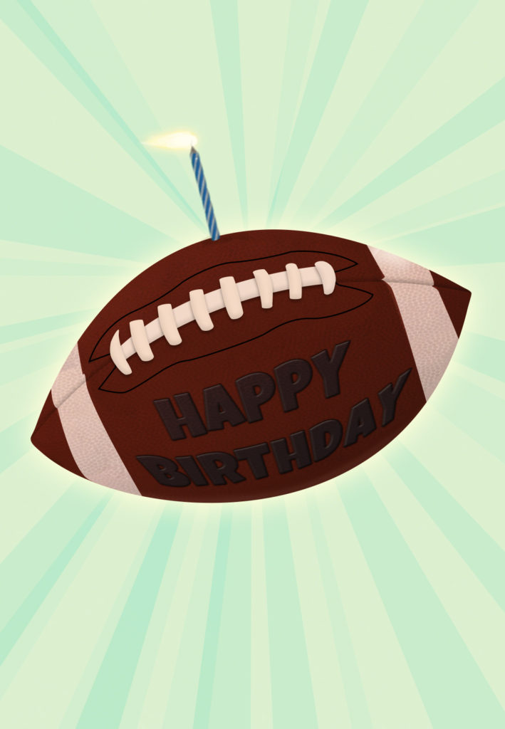 Football And A Candle Birthday Card Greetings Island