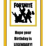Fortnite Legendary Happy Birthday Card Printable Download