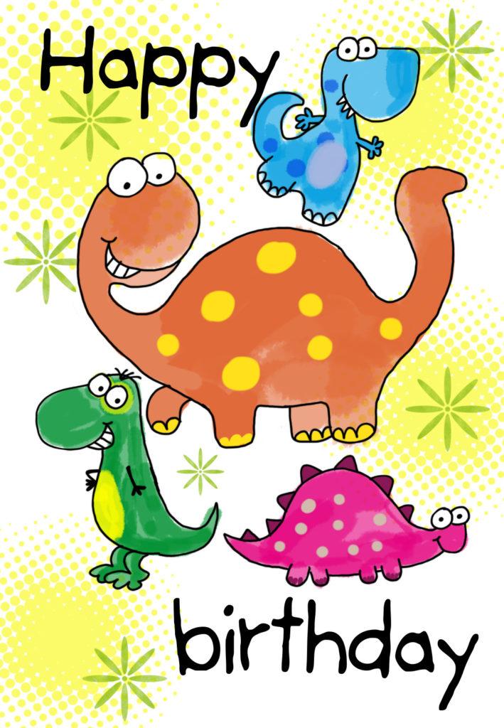 Four Cute Dinosaurs Birthday Card Greetings Island