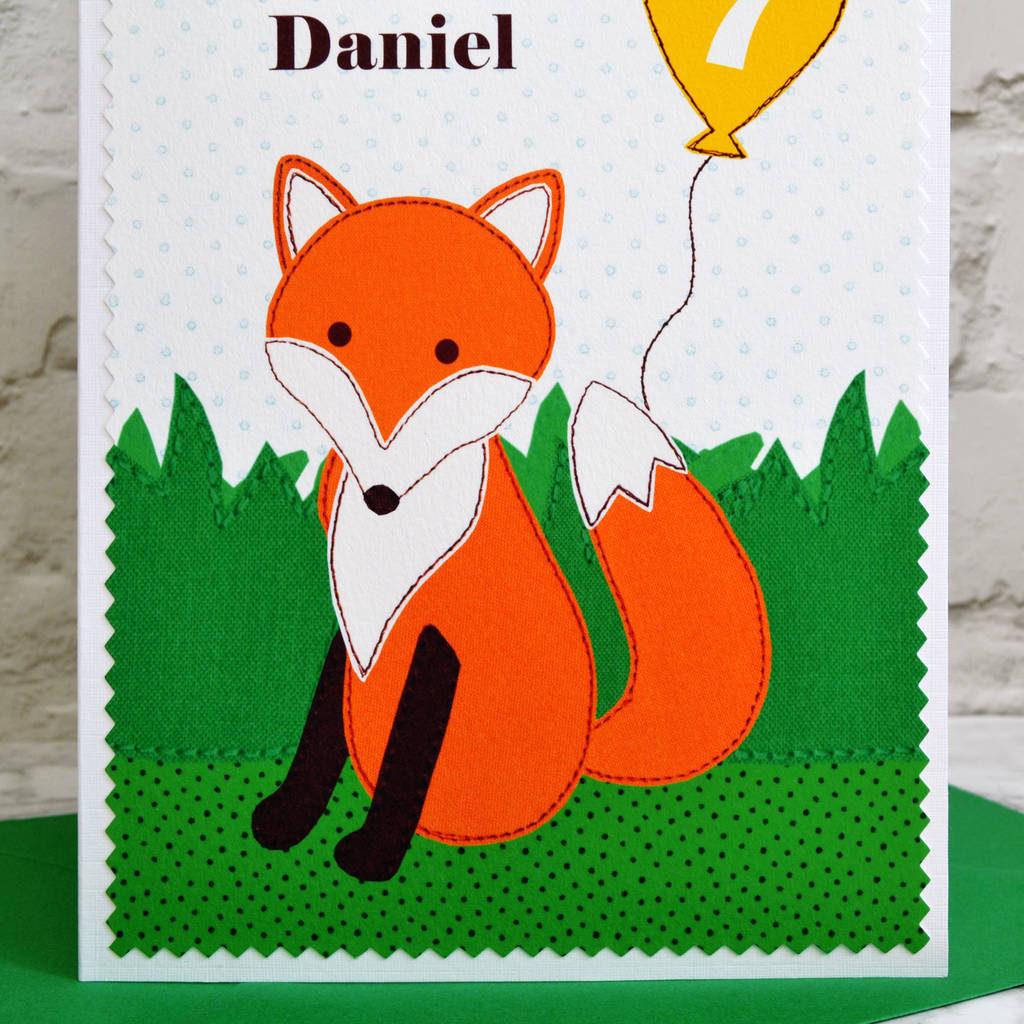 fox Personalised Childrens Birthday Card By Jenny Arnott