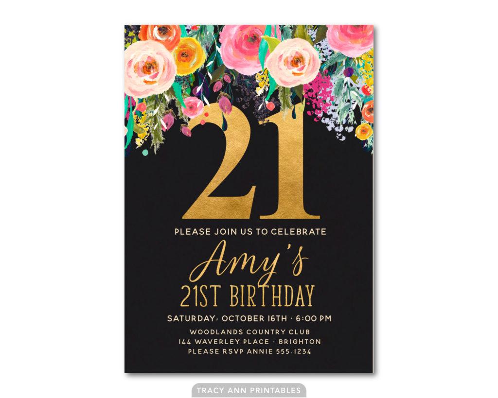 FREE 21st Birthday Invitations Wording FREE Printable