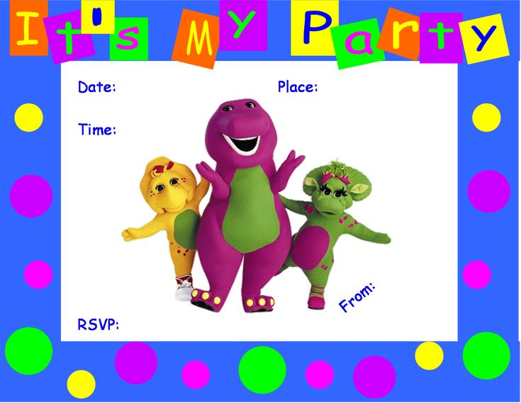 FREE Barney Birthday Party Invitation Barney Birthday