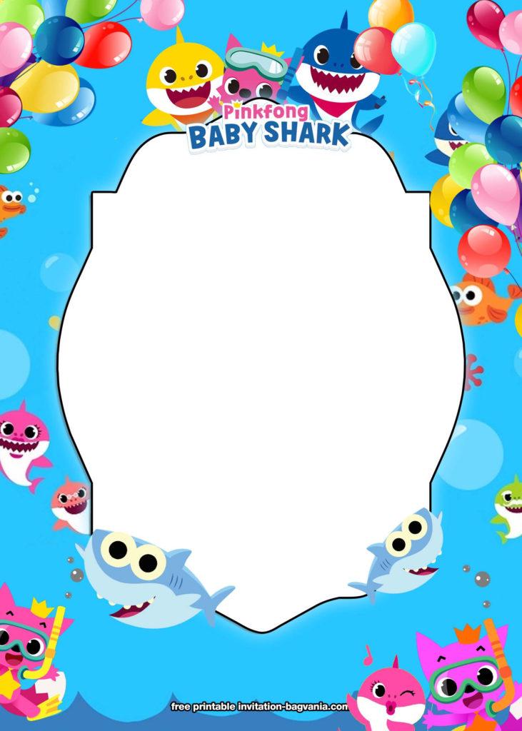FREE Printable Baby Shark Birthday Invitation Templates