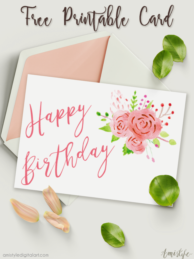 Free Printable Birthday Card With Watercolor Floral Design