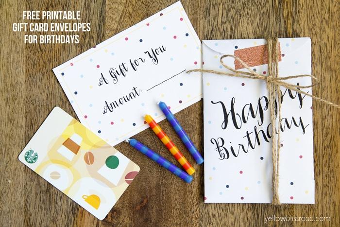 Free Printable Birthday Gift Card Envelopes