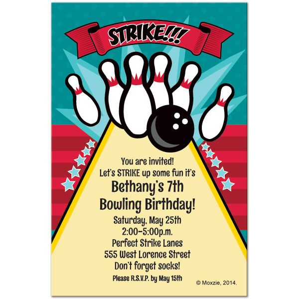 Free Printable Bowling Birthday Invitations With Images