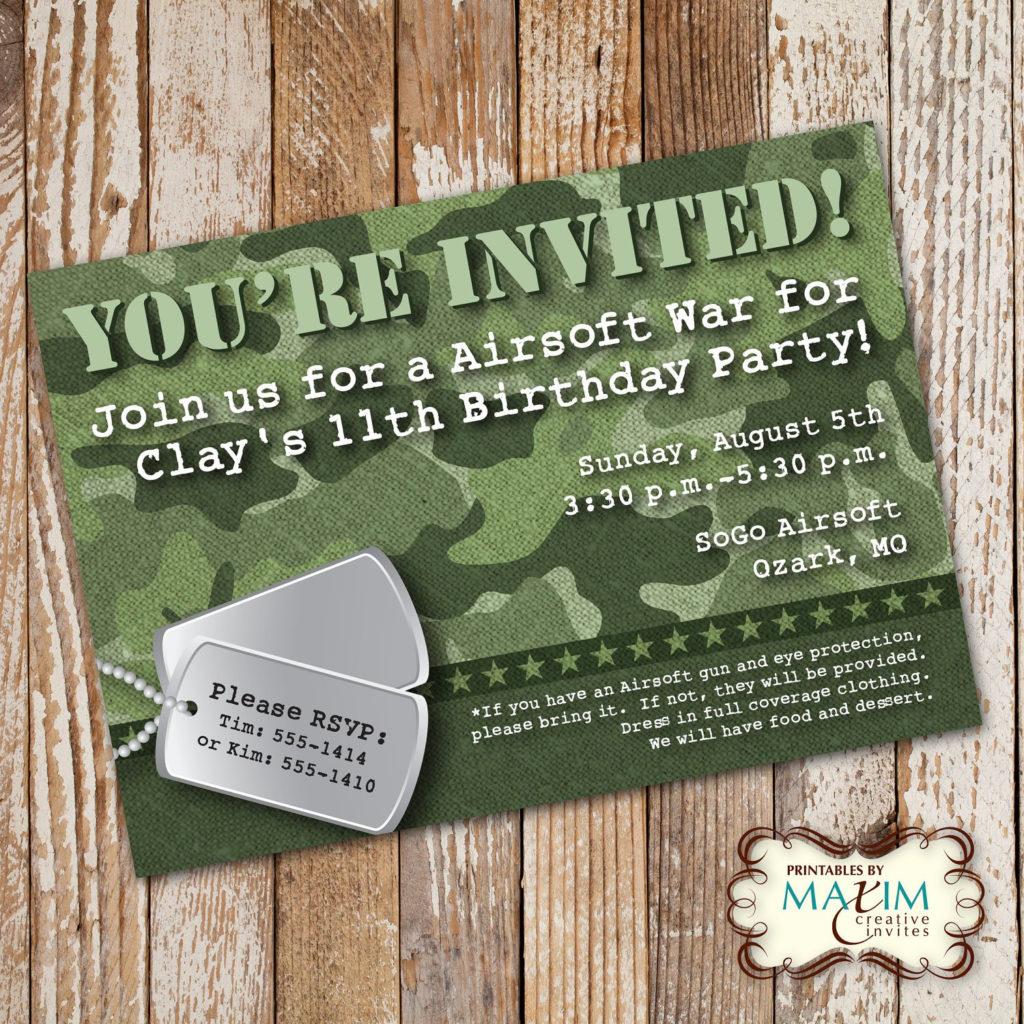 Free Printable Camouflage Invitations