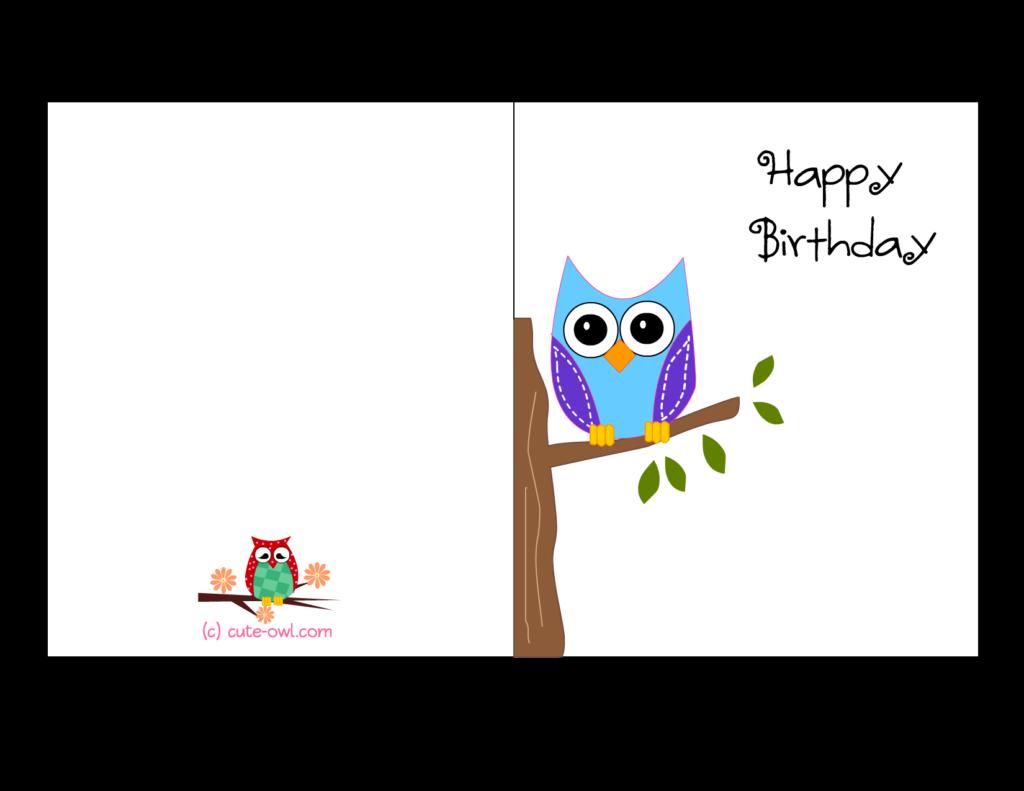 Free Printable Cute Owl Birthday Cards