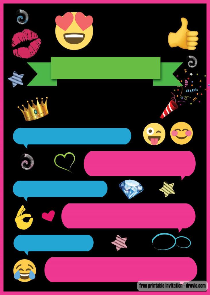 FREE Printable Emoji Chat Invitation Template DREVIO