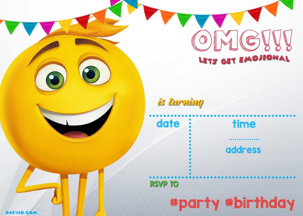 FREE Printable Emoji Invitation Template DREVIO