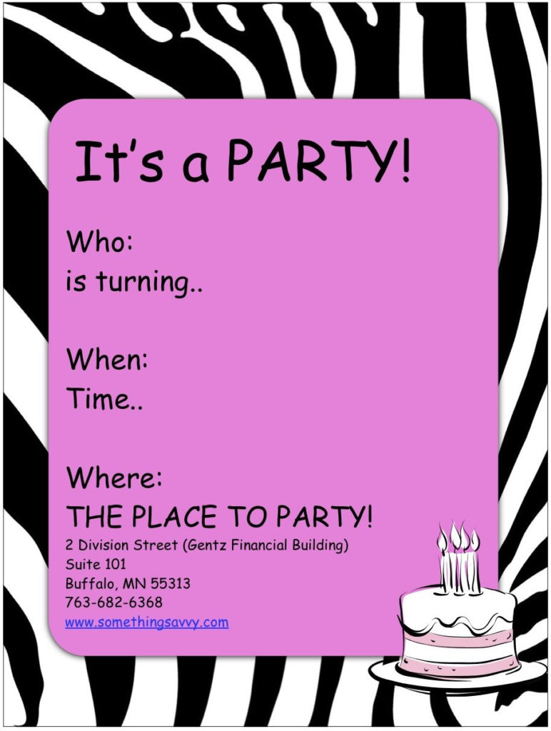 Free Printable Girls Spa Birthday Invitations