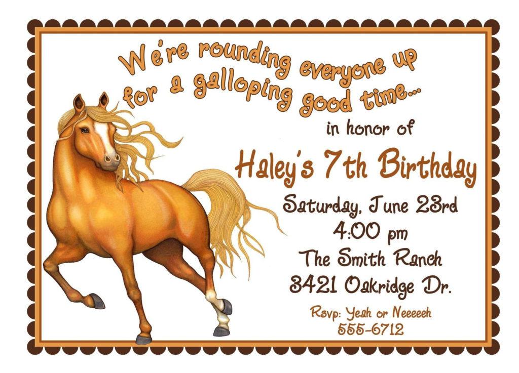Free Printable Horse Birthday Invitations Horse