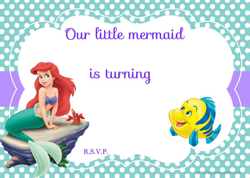 Free Printable Mermaid Birthday Invitation Wording FREE