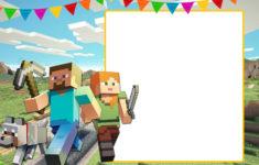 Minecraft Happy Birthday Card Template Printable