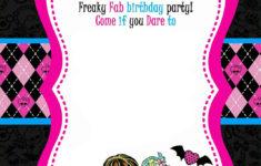 FREE Printable Monster High Birthday Invitations DREVIO