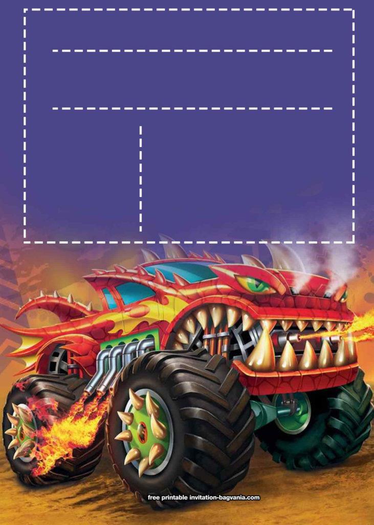 FREE Printable Monster Truck Birthday Invitation Templates