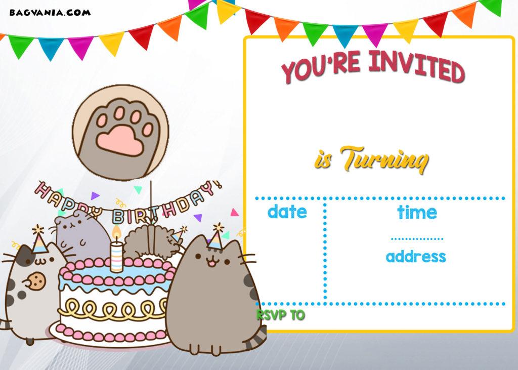 FREE Printable Pusheen Birthday Invitation Template DREVIO