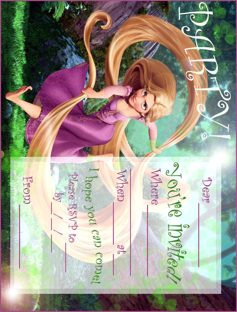 FREE PRINTABLE RAPUNZEL PARTY INVITATION FROM TANGLED