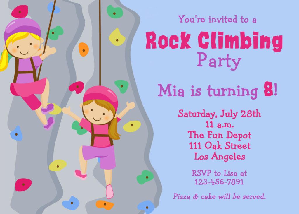 FREE Printable Rock Climbing Birthday Party Invitations