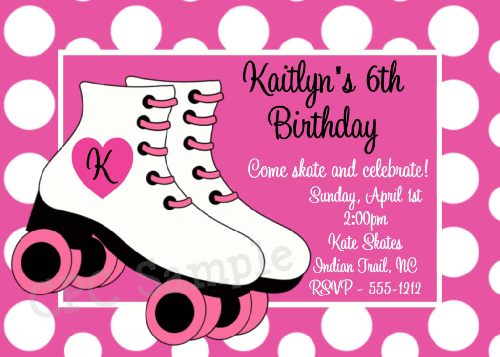 Free Printable Roller Skating Birthday Party Invitations