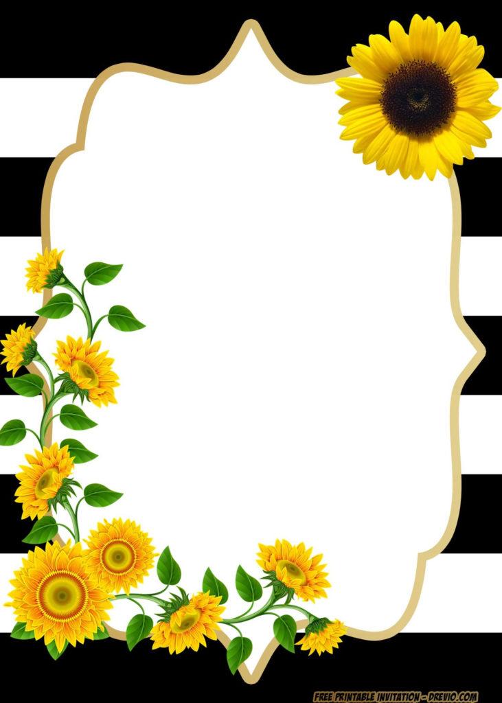 FREE Printable Sunflower Birthday Invitation Templates
